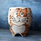 Посуда handmade. Livemaster - original item Fisherman cat - mug with legs. Handmade.