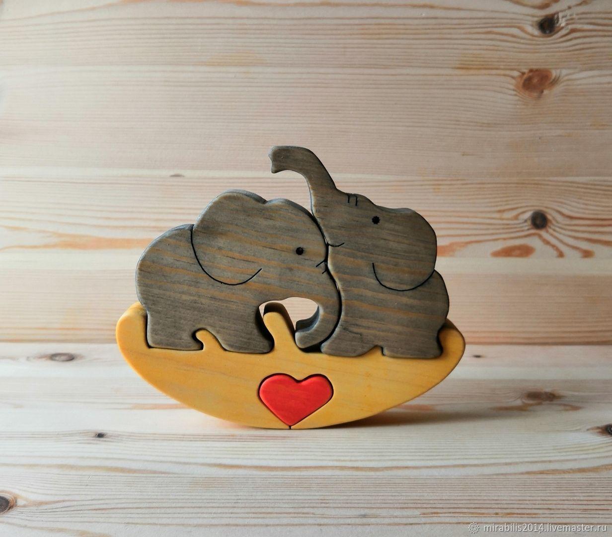 Пазл - качалка влюбленные слоники, Мягкие игрушки, Томск,  Фото №1