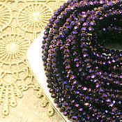 Материалы для творчества ручной работы. Ярмарка Мастеров - ручная работа Бусины рондели 3х2 мм Фиолетовый металлик хрустальные. Handmade.