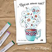 """Открытки ручной работы. Ярмарка Мастеров - ручная работа Авторская открытка с чайной феей """"Время пить чай"""". Handmade."""