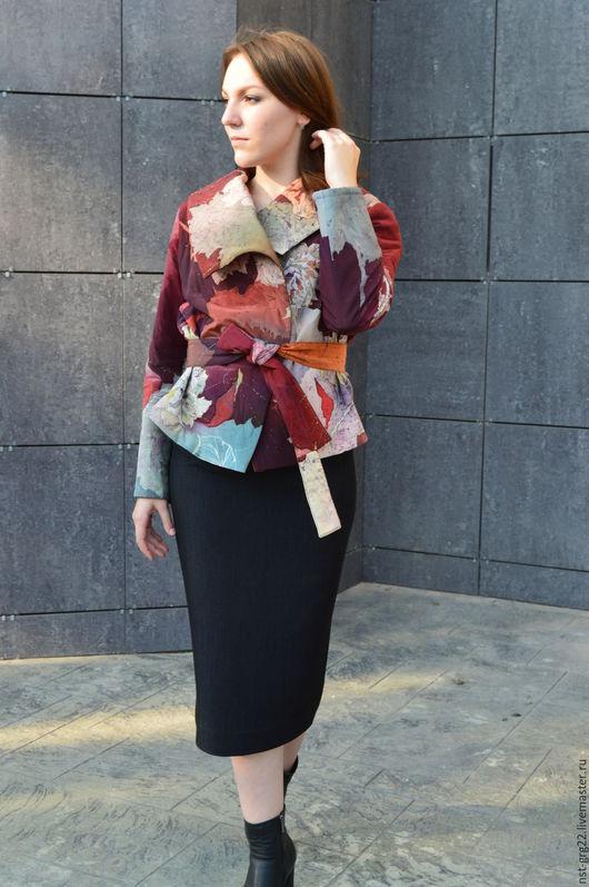 Пиджаки, жакеты ручной работы. Ярмарка Мастеров - ручная работа. Купить жакет теплый стеганый расписанный вручную Осень. Handmade.