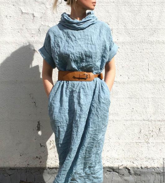 Платья ручной работы. Ярмарка Мастеров - ручная работа. Купить Льняное платье. Handmade. Голубой, натуральный лен, летнее платье