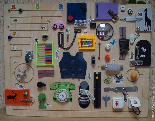 Развивающие игрушки ручной работы. Ярмарка Мастеров - ручная работа. Купить БИЗИБОРД РАЗВИВАЮЩАЯ ДОСКА. Handmade. Разноцветный, доска