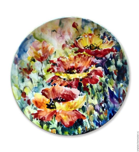 Керамическая тарелка `Маки`. Керамика ручной работы. Ярмарка мастеров.