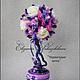 """Топиарии ручной работы. Ярмарка Мастеров - ручная работа. Купить Топиарий дерево счастья """"Черничные ночи"""". Handmade. Фиолетовый, розы"""