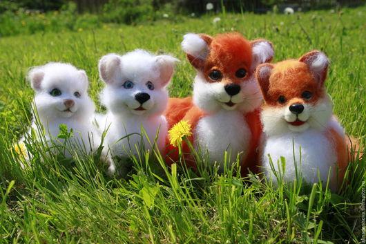Игрушки животные, ручной работы. Ярмарка Мастеров - ручная работа. Купить Игрушки из шерсти. Handmade. Белый, лисенок, Рыжая, рыжик