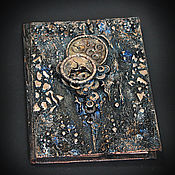 Подарки к праздникам ручной работы. Ярмарка Мастеров - ручная работа Блокнот с часами, старый блокнот микс-медиа стимпанк черный. Handmade.