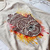 Одежда ручной работы. Ярмарка Мастеров - ручная работа Майка с оберегом - хамса. Handmade.