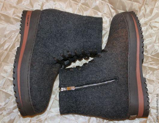 """Обувь ручной работы. Ярмарка Мастеров - ручная работа. Купить Валяные ботинки мужские. """"Для Любимого"""". Handmade. Темно-серый"""
