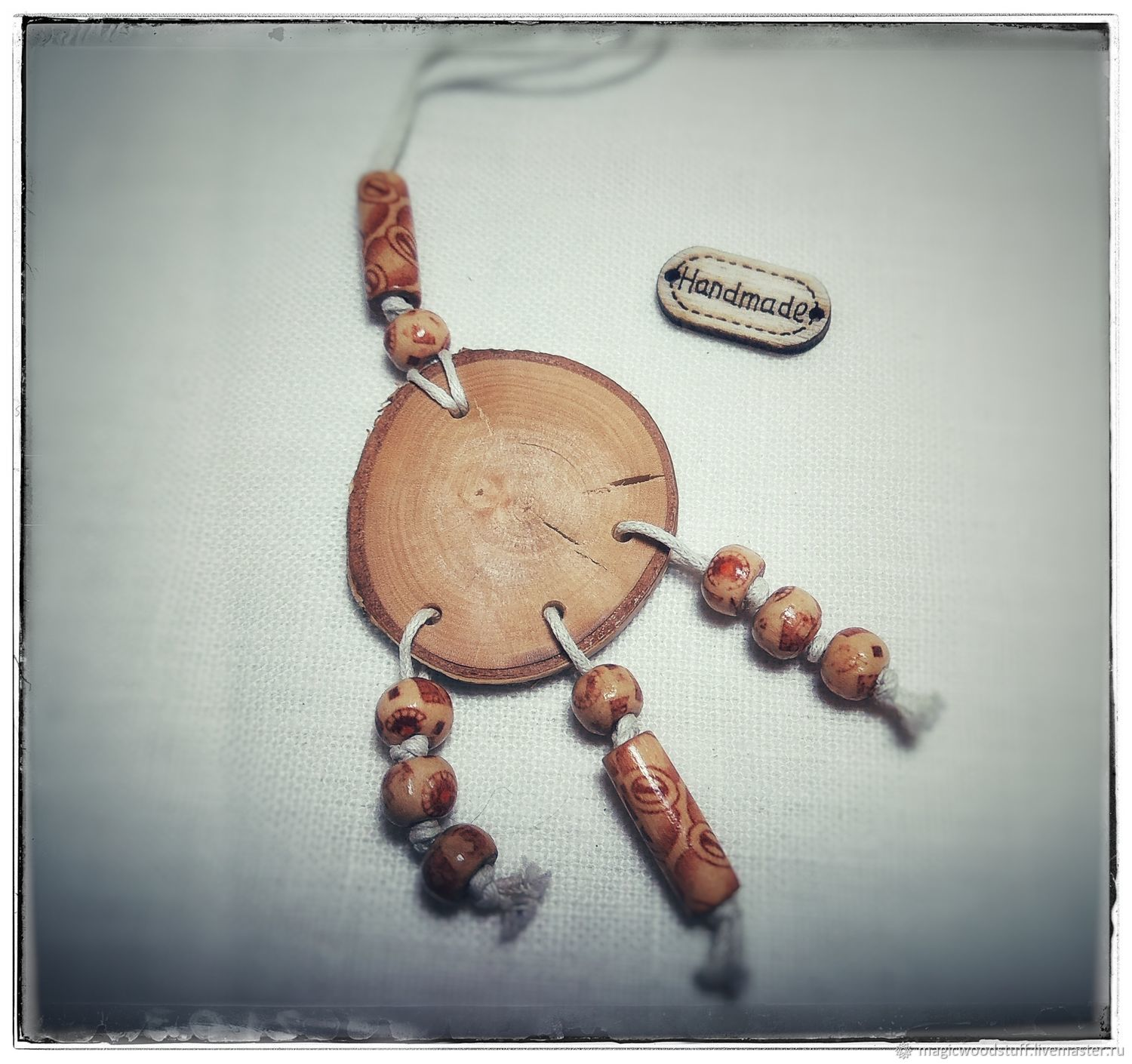 The pendant is made of birch with beads, Pendant, Moscow,  Фото №1