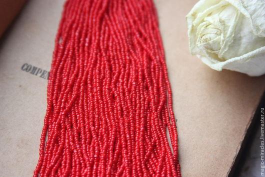 Для украшений ручной работы. Ярмарка Мастеров - ручная работа. Купить Винтажный бисер Charlotte - red. Handmade. Ярко-красный