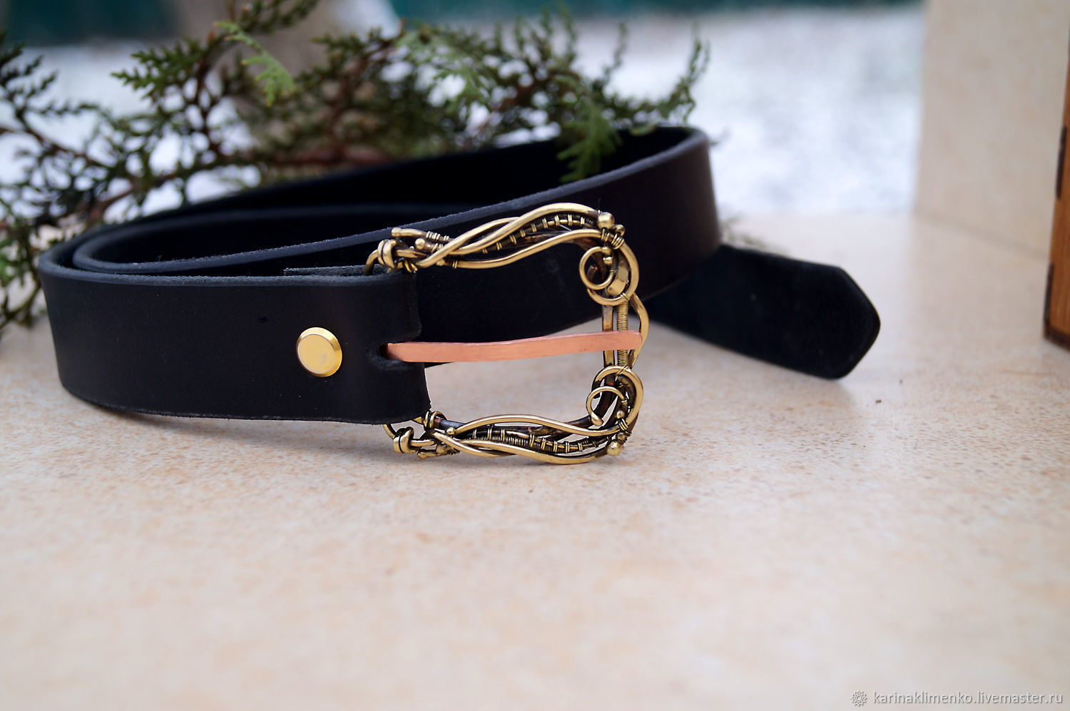 Black leather strap with original pin buckle made of brass, Straps, Semenovka,  Фото №1