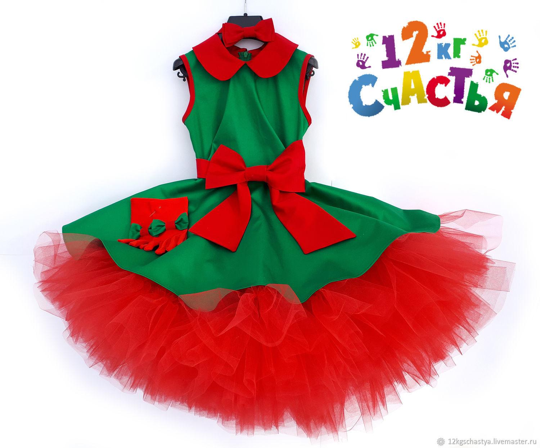 """Платье для девочки """"Стиляги"""" зеленое с красным"""