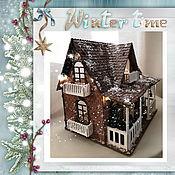 """Кукольные домики ручной работы. Ярмарка Мастеров - ручная работа Кукольный дом """"Рождественский"""" со светящейся гирляндой. Handmade."""