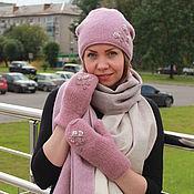 Аксессуары handmade. Livemaster - original item Set hat, mittens and scarf pink and beige milk. Handmade.