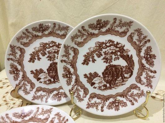 Винтажная посуда. Ярмарка Мастеров - ручная работа. Купить три тарелки, Чехословакия, Bohemia. Handmade. Комбинированный