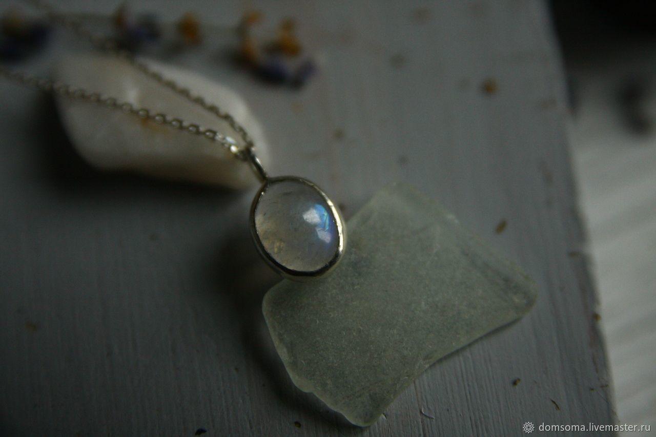 Кулон серебряный с лунным камнем – заказать на Ярмарке Мастеров – KH1EERU   Кулон, Санкт-Петербург