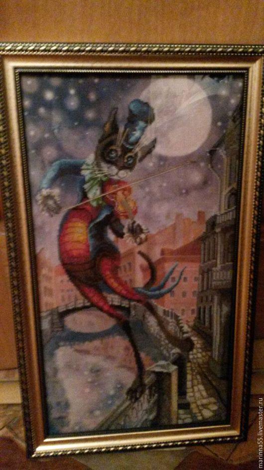 Фантазийные сюжеты ручной работы. Ярмарка Мастеров - ручная работа. Купить Луна на смычке. Handmade. Котик, скрипка, музыкант, луна