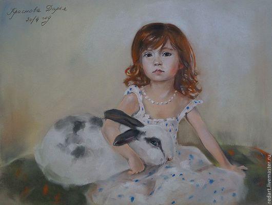 Люди, ручной работы. Ярмарка Мастеров - ручная работа. Купить Девочка с кроликом. Handmade. Белый, портрет, девочка, картина для интерьера