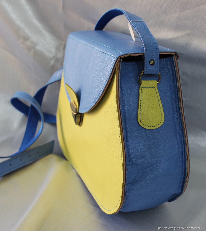 Желто-голубая сумочка из натуральной кожи, Сумки, Пятигорск, Фото №1