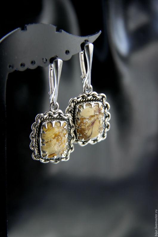 Серьги ручной работы. Ярмарка Мастеров - ручная работа. Купить Серебряные серьги с яшмой. Handmade. Бежевый, украшения с камнями