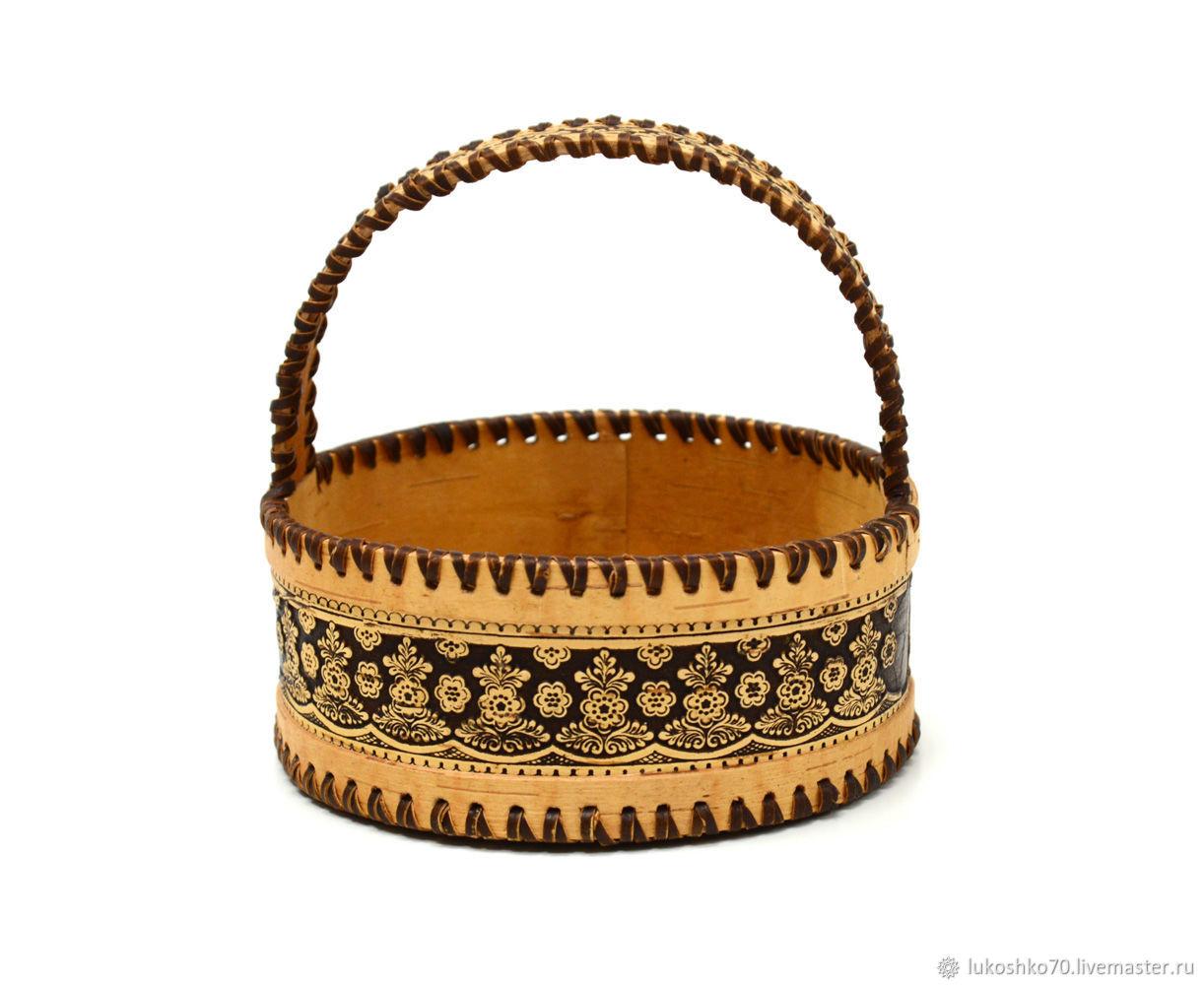 Basket of birch bark 'Openwork'. basket of birch bark, Basket, Tomsk,  Фото №1