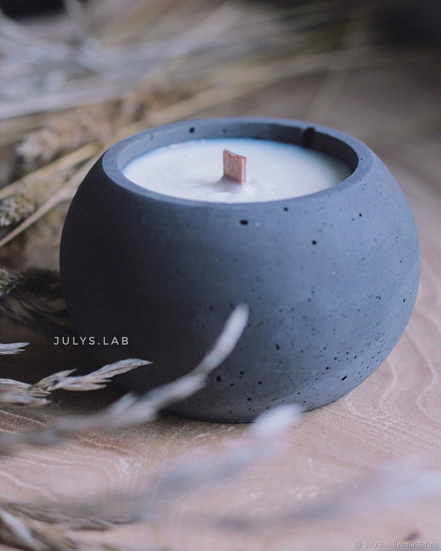 Соевая свеча в бетоне с древесным фителем Шар Black, Свечи, Санкт-Петербург,  Фото №1