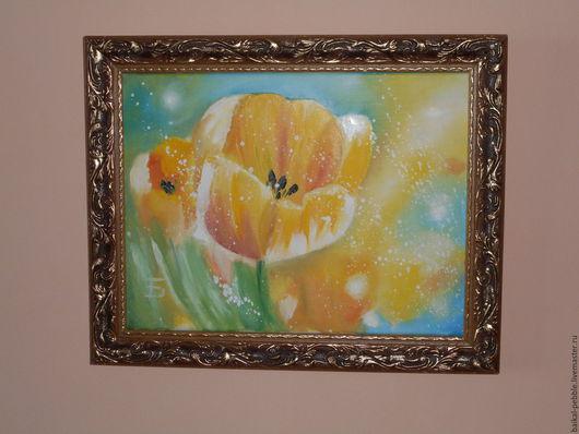 Картины цветов ручной работы. Ярмарка Мастеров - ручная работа. Купить Солнечный ветер. Handmade. Желтый, мама