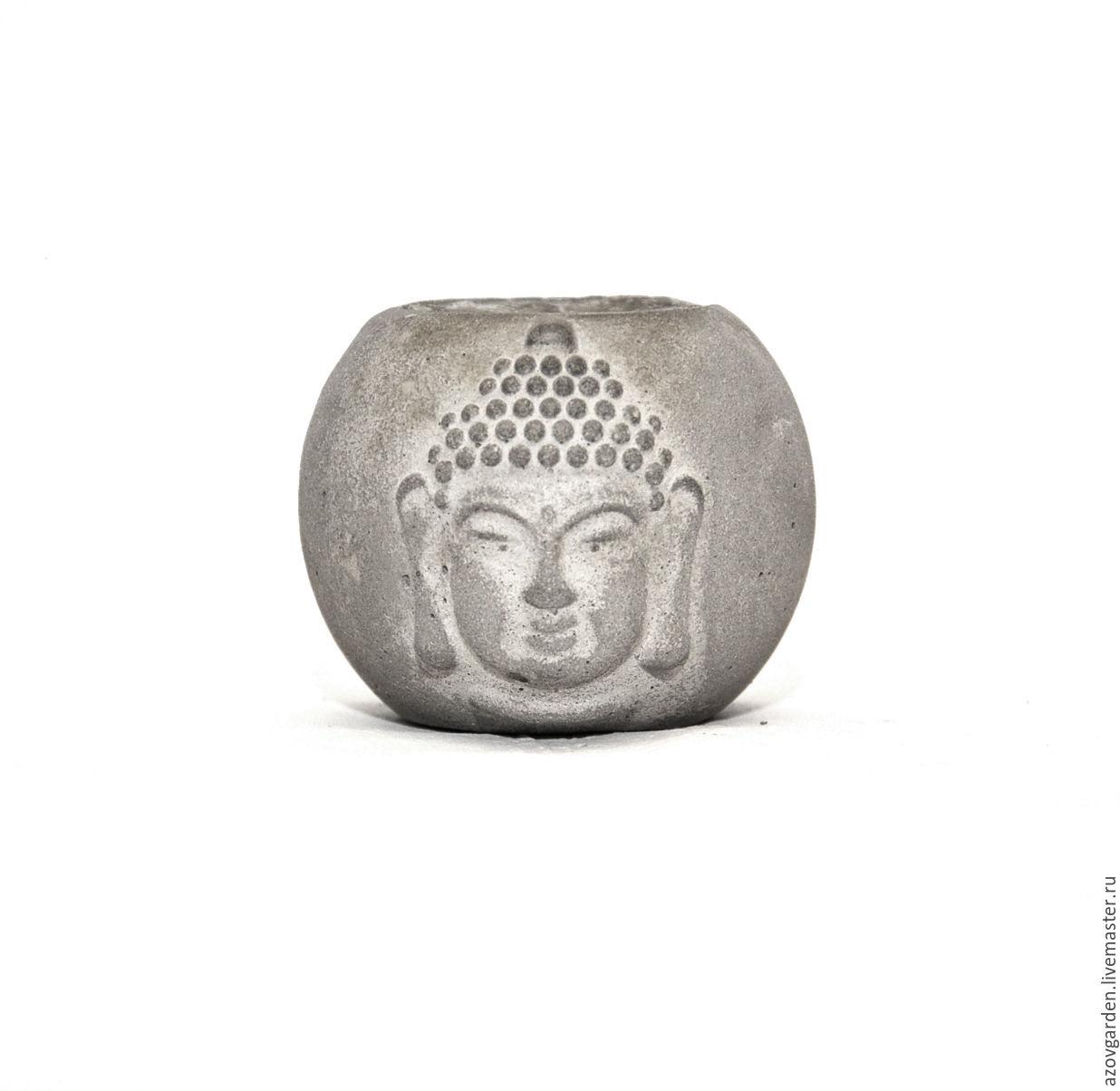 Concrete planters Buddha with white patina