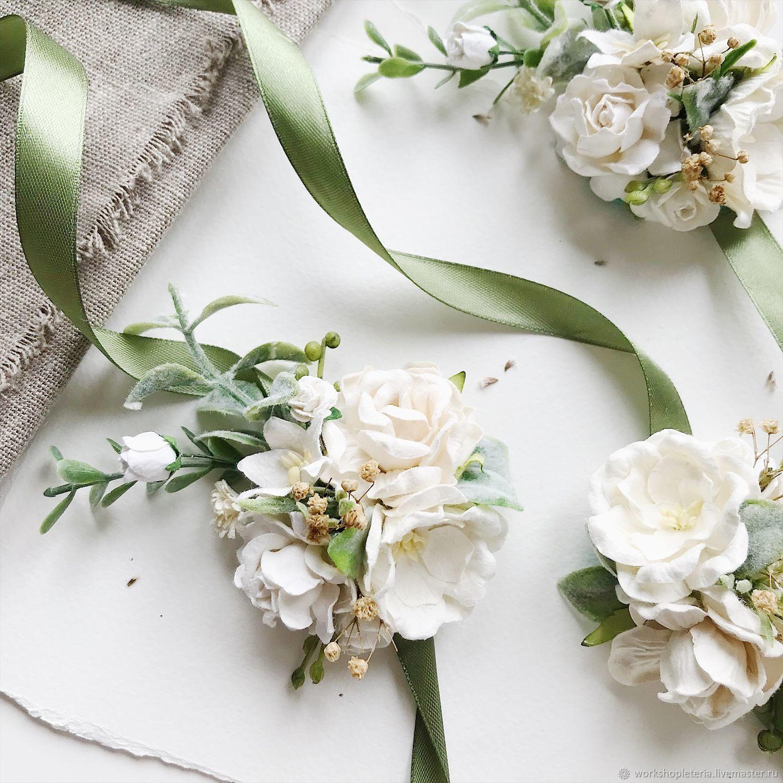 Браслеты для подружек невесты с белыми цветами, Браслеты, Санкт-Петербург,  Фото №1