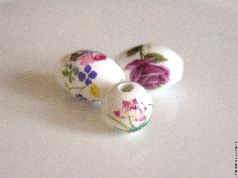 Для украшений ручной работы. Ярмарка Мастеров - ручная работа. Купить Бусины с рисунком керамика. Handmade. Бусины, бусины с рисунком