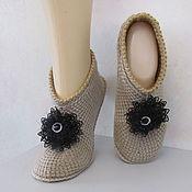Обувь ручной работы handmade. Livemaster - original item Knitted slippers, half-wool, beige.. Handmade.