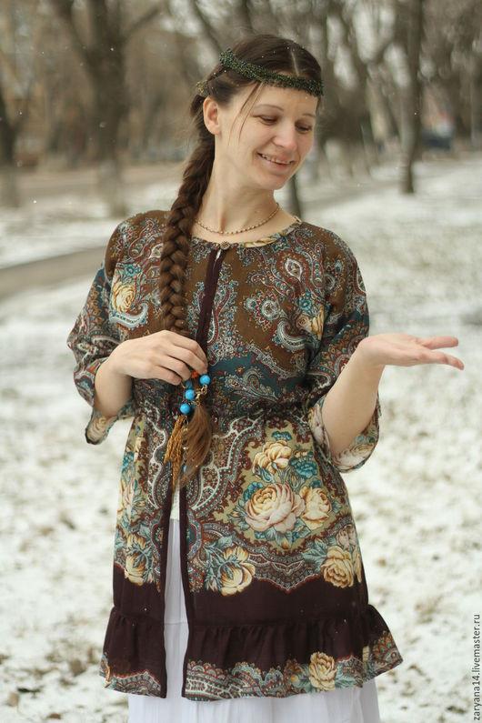Пиджаки, жакеты ручной работы. Ярмарка Мастеров - ручная работа. Купить Накидка из платочка павло-посадского. Handmade. Цветочный, накидка