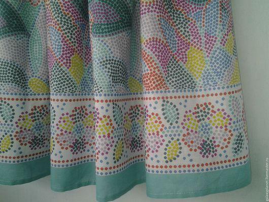 """Юбки ручной работы. Ярмарка Мастеров - ручная работа. Купить Пышная юбка из батиста на резинке """"Мозаика"""" бирюзово-радужная. Handmade."""