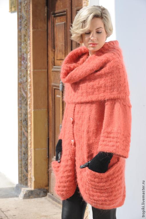 """Кофты и свитера ручной работы. Ярмарка Мастеров - ручная работа. Купить """" Крымская роза"""" пальто и снуд вязаные. Handmade."""