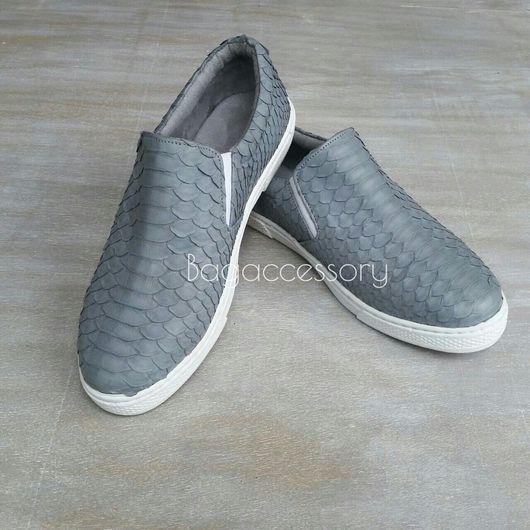 Обувь ручной работы. Ярмарка Мастеров - ручная работа. Купить Слипоны из натуральной кожи питона. Handmade. Слипоны