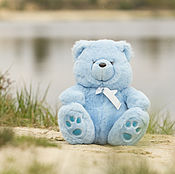 Куклы и игрушки ручной работы. Ярмарка Мастеров - ручная работа Голубой плюшевый мишка. Handmade.