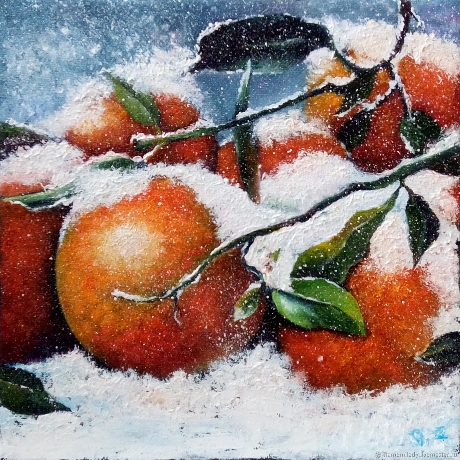 The picture with the Snow fruit tangerines oil painting, Pictures, Ekaterinburg,  Фото №1