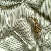 Материалы для творчества handmade. Livemaster - original item Fabric of blended linen Green stripe. Handmade.