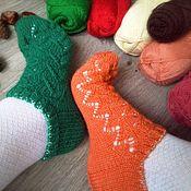 Аксессуары ручной работы. Ярмарка Мастеров - ручная работа Разноцветные теплые женские следки. Вязаные низкие носки ручной работы. Handmade.