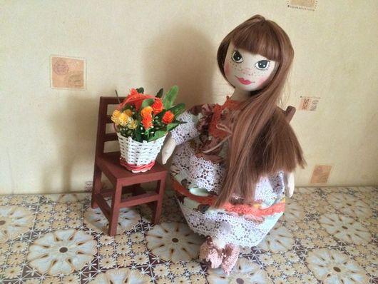 Коллекционные куклы ручной работы. Ярмарка Мастеров - ручная работа. Купить Текстильная кукла Алиска. Handmade. Мятный, габардин, хлопок