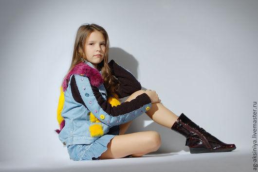 Для подростков, ручной работы. Ярмарка Мастеров - ручная работа. Купить Куртка джинсовая с мехом. Handmade. Голубой, куртка для девочки