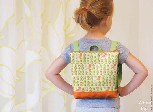 Рюкзаки ручной работы. Ярмарка Мастеров - ручная работа. Купить Детский льняной рюкзачок. Handmade. Оранжевый, натуральные материалы, льняная