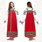 Русский стиль handmade. Livemaster - original item Сotton dress for woman and girl Nadia. Handmade.