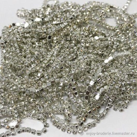 Стразовая лента прозрачная в серебре, 1,4 мм, 10 см, Кристаллы, Санкт-Петербург,  Фото №1