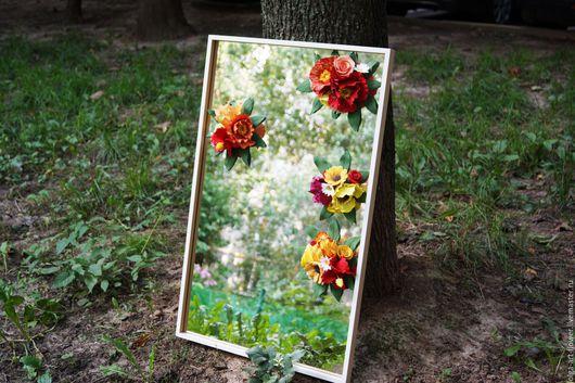 Зеркала ручной работы. Ярмарка Мастеров - ручная работа. Купить Зеркало с цветами из полимерной глины. Handmade. Комбинированный, осень