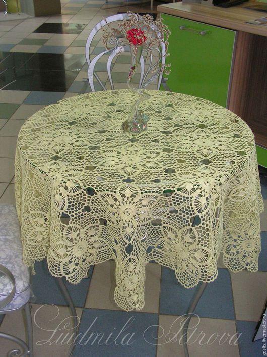 """Текстиль, ковры ручной работы. Ярмарка Мастеров - ручная работа. Купить Скатерть вязаная крючком """"Восхищение"""" шампань. Handmade. Белый"""
