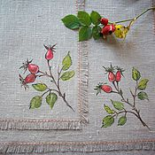 Для дома и интерьера handmade. Livemaster - original item Linen napkins with painting..... Rosehips..... Handmade.