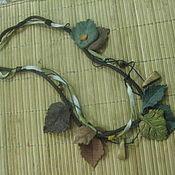 Колье- браслет-пояс из дерева и кожи ручной работы