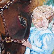 """Картины и панно ручной работы. Ярмарка Мастеров - ручная работа Картина маслом """"Лошадь и девочка"""". картина девочка. картина лошадь. Handmade."""